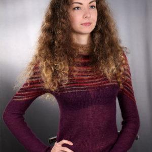 """свитер с цельнокроеным """"спелая слива"""", описание, вязание на заказ"""