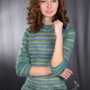 меланжевый джемпер, описание, вязание на заказ