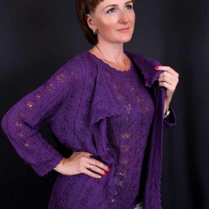Кардиган фиолетовый, кардиган хлопок/вискоза, вязание на заказ, вязаный кадиган на заказ