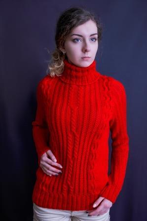 свитер с аранами красный, описание, вязание на заказ