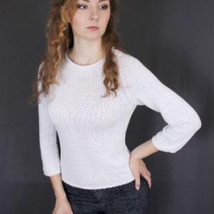 Пуловер белый с рукавом реглан, описание, вязание на заказ