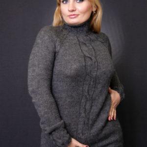 свитер с косой серый, описание, вязание на заказ