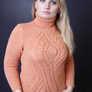 свитер с аранами абрикосового цвета, описание, вязание на заказ