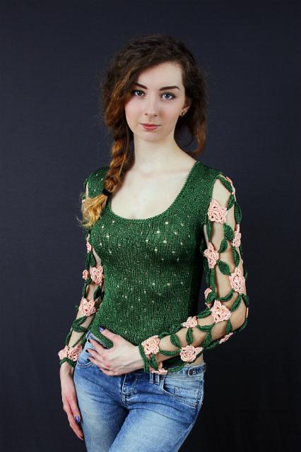 Пуловер летний ажурный, описание, вязание на заказ
