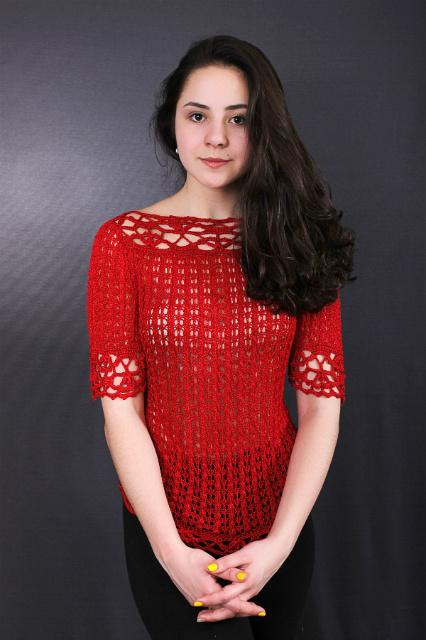 Пуловер алый, описание, вязание на заказ