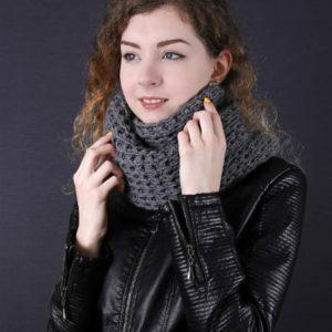 Шарф-снуд серый, вязание на заказ