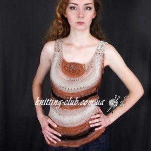 Топ ажурный многоцветный, вязание на зака, летний вязаный майка-топ на заказ