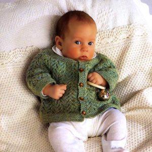 Вязание детям _ Ажурный жакет для новорожденного