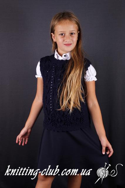 Вязание детям,безрукавка, жилет, школьная форма