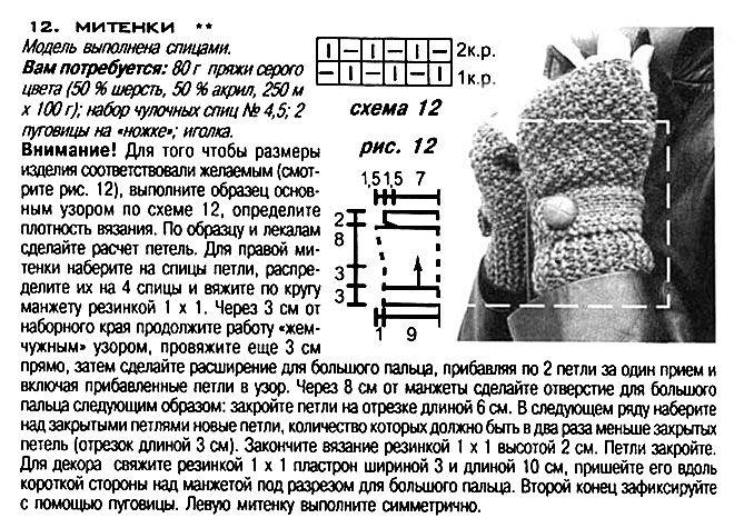 """Митенки """"Путанкой, схема и описание вязания митенок """"Путанкой"""""""