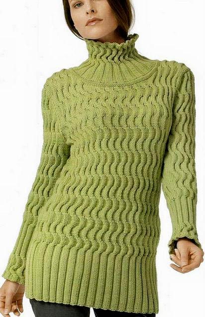 Оливковый женский свитер, как связать оливковый женский свитер, свитер женский с косами, свитер женский с аранами