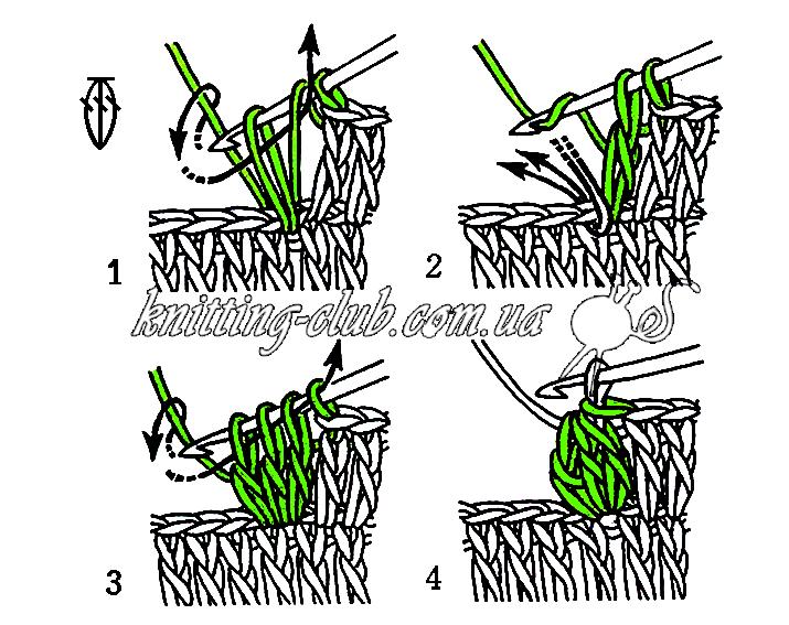 Пышный столбик, Вязание крючком