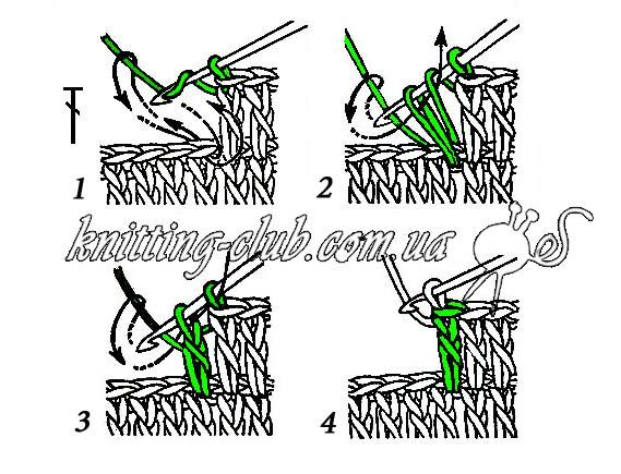 Столбик с накидом, Вязание крючком