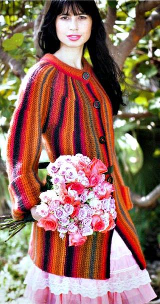 Цветной жакет, Жакет платочной вязкой, Кофта, Кардиган, Вязание женщинам