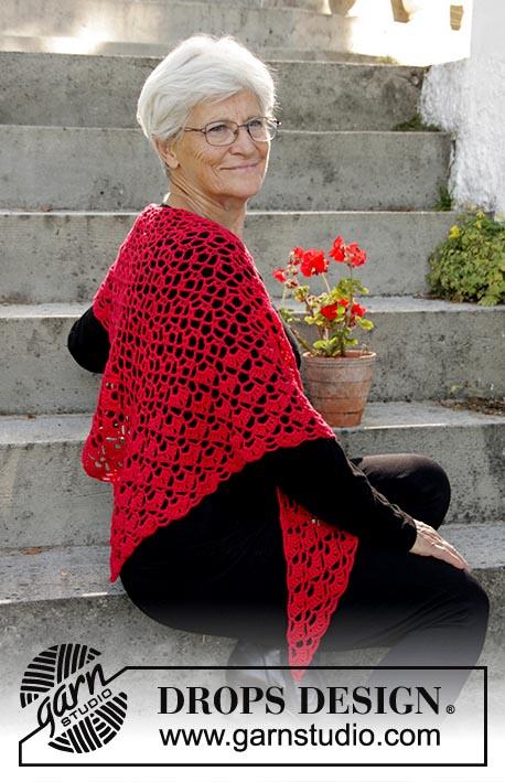 """Шаль """"Рождественский шарм"""", шаль, шаль крючкомЮ вязание крючком, вязание для женщин, красная шаль, идеи для подарков, идеи для подарков к Рождеству"""