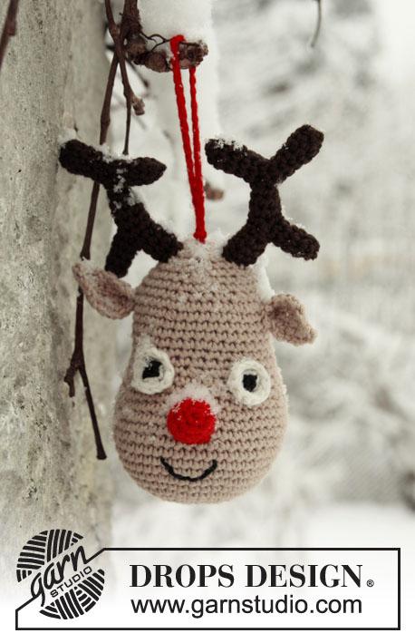 Подвеска на ёлку, игрушки, елочные украшения, вязаные елочные украшения, вязаные игрушки для детей,вязаный олень, вязаный конверт для малыша, идеи для подарков, идеи для подарков к Рождеству, вязание для детей, Drops, вязание детям
