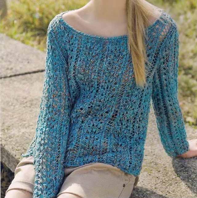 Голубой ажурный пуловер, ажурные узоры, ажурные волны, пуловер женский, джемпер женский