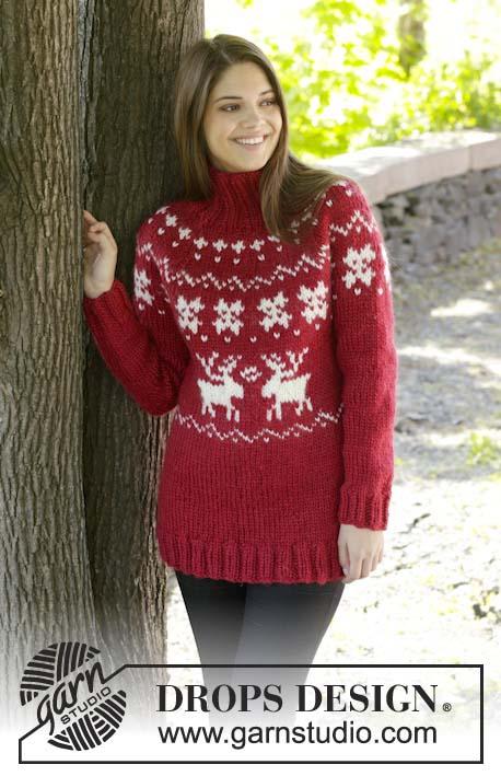 красный свитер с оленями, свитер с оленями, свитер с норвежским узором, жаккардовые узоры, норвежские узоры, свитер, вязание для женщин, свитер женский, вязание спицами, вязание для женщин, носки, идеи для подарков, идеи для подарков к Рождеству, Drops