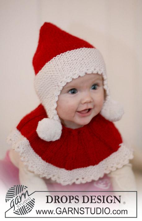 маленький Дед Мороз, шапка и манишка для малыша, шапка, манишка, вязаный конверт для малыша, идеи для подарков, идеи для подарков к Рождеству, вязание для детей, Drops, вязание детям