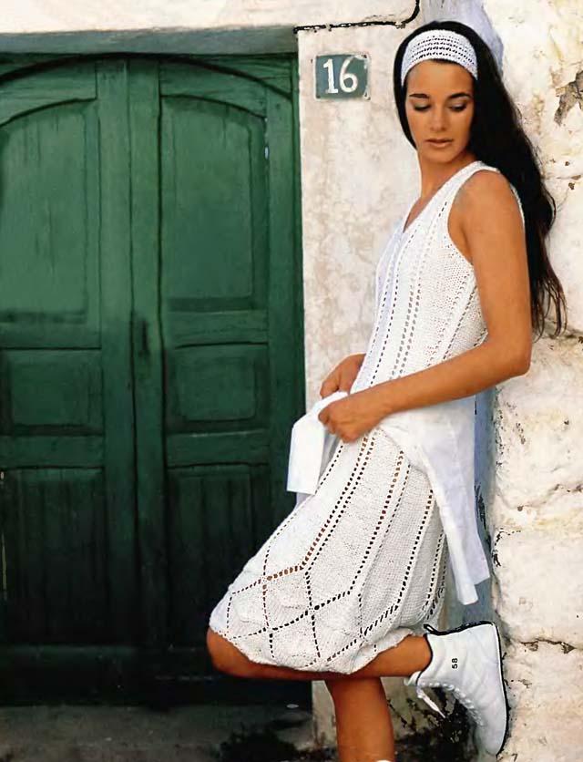 белое платье с ажурной каймой, летние модели, платье вязанное хлопковое, вязание для женщин, вязанное платье, вязание спицами, ажурные узоры