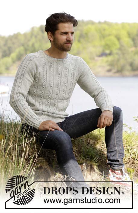 """Мужской свитер """"Сэнтинель"""", мужской свитер, вязание для мужчин, мужской пуловер, ажурные узоры, ажурныеполосы, свитер мужской белый, Drops, вязание спицами"""