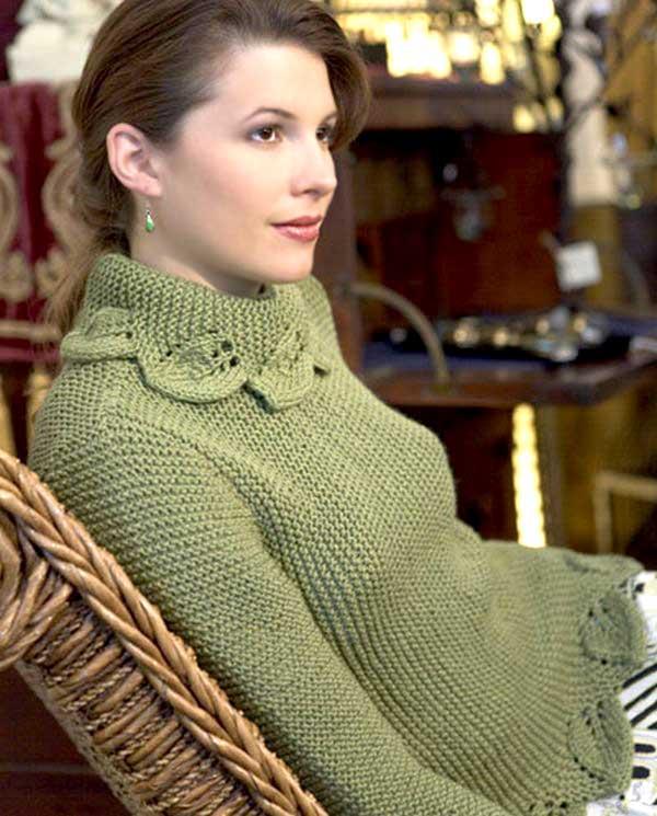"""Пуловер Lace Edged Cowl, Дизайн Lana Grossa, Lana Grossa, пуловер, джемпер, пуловер женский, джемпер женский, джемпер платочной вязкой, пуловер платочной вязкой, джемпер с воротником узором """"листья"""", кайма """"листья"""", вязание спицами, вязание для Вас, вяжем вместе, вяжите с нами, вязание для женщин, вязаные модели для женщин"""