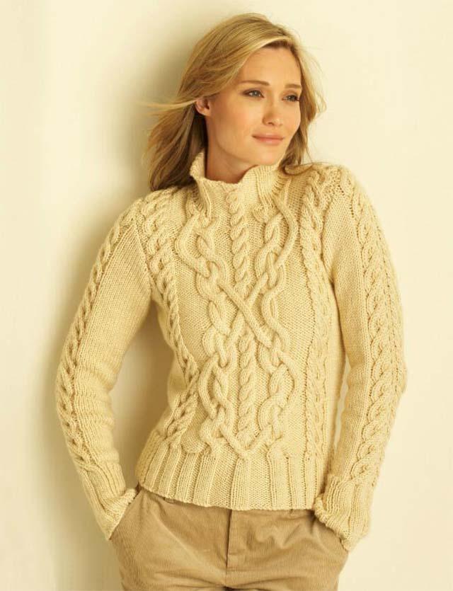 свитер, свитер женский, свитер женский с косами, свитер женский с аранами, вязание спицами, вязание для женщин, свитер белый,свитер кремовый, араны. косы, узоры с аранами, узоры с косами