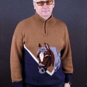 """Мужской свитер с принтом """"Лошадь"""""""