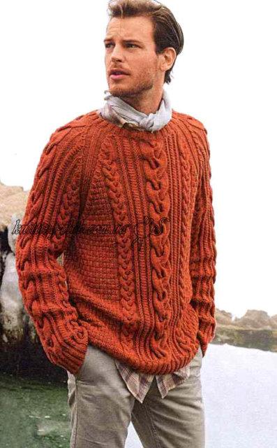 Мужской джемпер терракотовый с косой, мужской джемпер с аранами, мужской джемпер с аранами и фантазийным узором, пуловер, мужской пуловер, мужской пуловер с аранами, мужской терракотовый пуловер, вязание спицами, вязание для мужчин, вязаные модели для мужчин, вяжем вместе, вяжите с нами, вязание на заказ, описание и схемы вязания для мужчин, мужские вязаные свитера, мужские вязаные джемпера, вязаные вещи ручной работы