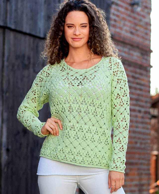 пуловер ажурный, пуловер крючком, вязание женщинам, модели вязаной одежды для женщин, вязание крючком, пуловер ажурный фисташкового цвета, вязание на заказ, вяжите с нами, вяжем вместе, узоры крючком
