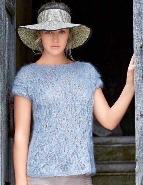 Джемпер нежно голубой, джемпер спицами, вязание женщинам, модели вязаной одежды для женщин, вязание спицами, вязание на заказ, вяжите с нами, вяжем вместе, узоры спицами, джемпер скосами, джемпер шелковый, джемпер мохер + шелк, в'язання спицями, джемпер вязаный ручной работы, джемпер женский, джемпер летний