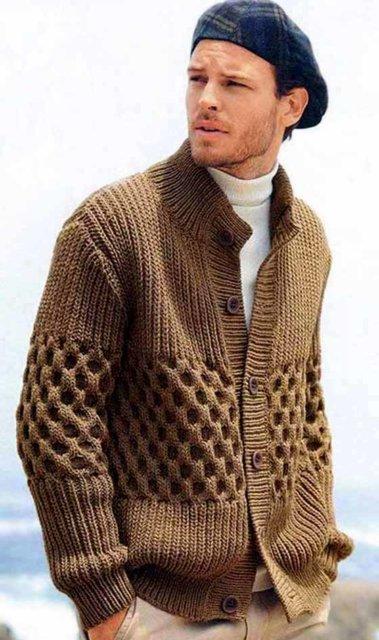 жакет мужской бежевый, мужской жакет с рельефным узором, вязание для мужчин, модели вязаной одежды для мужчин, вязание спицами, вяжите с нами, вяжем вместе, джемпер мужской, джемпер мужской меланжевый, джемпер мужской серый, свитер с косами , мсвитер мужской с косами, свитер мужской с аранами, вязание на заказ, мужской джемпер на заказ