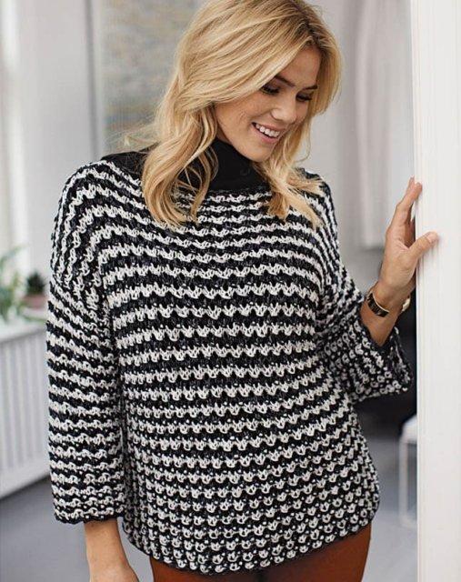джемпер черно-белый, джемпер спицами, вязание женщинам, модели вязаной одежды для женщин, вязание спицами, вязание на заказ, вяжите с нами, вяжем вместе, узоры спицами, джемпер пестрый, джемпер хлопковый, джемпер шерстяной, в'язання спицями, джемпер вязаный ручной работы, джемпер женский, много описаний и схем вязания, вязаные мотивы