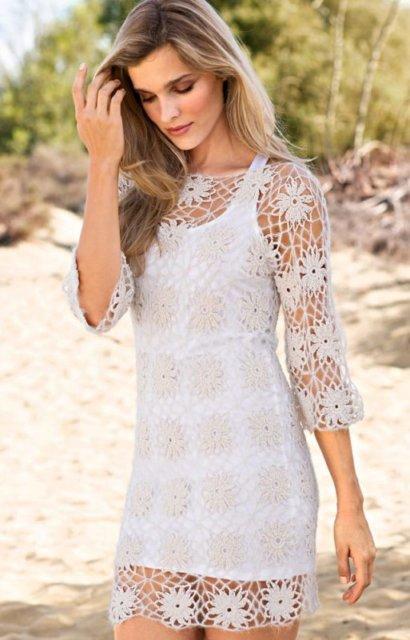 платье, платье белое, платье ажурное, платье ручной работы, платье крючком, платье из мотивов крючком, белое платье из мотивов, летние модели, платье вязанное хлопковое, вязание для женщин, вязанное платье, вязание крючком, мотивы