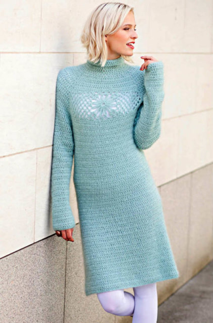 Платье крючком, платье нежно голубое, платье ажурное, платье ручной работы, платье с ажурным мотивом, платье с ажурными вставками, летние модели, демисезонные модели, платье вязанное, вязание для женщин, вязанное платье, вязание крючком, узоры крючком, мотивы крючком