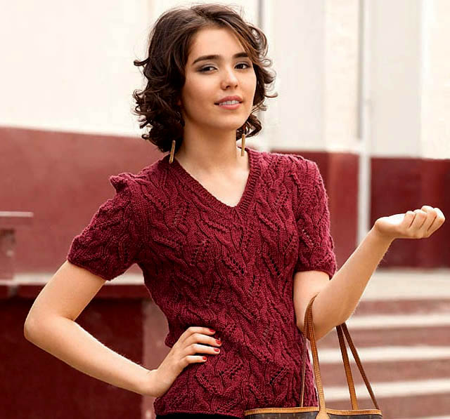 джемпер вишневый, джемпер вишневый ажурный, джемпер с коротким рукавом, джемпер летний, джемпер женский, джемпер хлопковый, вязание для женщин, модели вязаной одежды для женщин, вязание спицами, ажурные узоры, ажурные полосы, в'язання спицями, джемпер вязаный, джемпер ручной работы, как связать летний джемпер