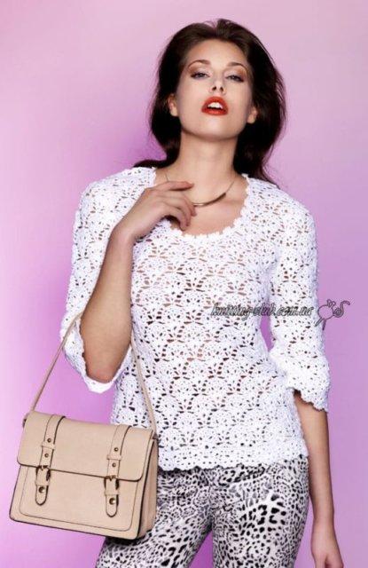 белый летний джемпер крючком, джемпер белый, джемпер белыйажурный, джемпер ажурный с длинным рукавом, джемпер летний, джемпер женский, джемпер хлопковый, джемпер шелковый, вязание для женщин, модели вязаной одежды для женщин, вязание крючком, ажурные узоры, ажурные полосы, в'язання гачком, джемпер вязаный, джемпер ручной работы, как связать ажурный джемпер, узоры крючком
