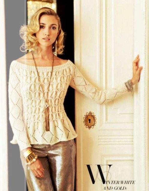 ДЖЕМПЕР СО СБОРКАМИ из VOGUE HOLIDAY, джемпер белый, вязаные модели из VOGUE, джемпер белый ажурный, джемпер ажурный с длиннымрукавом, джемпер летний, джемпер женский, джемпер хлопковый, джемпер шелковый, вязание для женщин, модели вязаной одежды для женщин, вязание спицами, ажурные узоры, ажурные полосы, в'язання спицями, джемпер вязаный, джемпер ручной работы, как связать ажурный джемпер