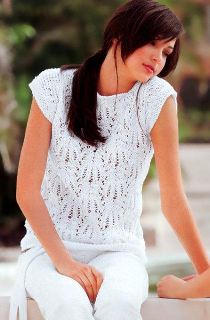 """белый летний джемпер узором """"Медвежьи лапки"""", джемпер белый, джемпер белыйажурный, джемпер ажурный с коротким рукавом, джемпер летний, джемпер женский, джемпер хлопковый, джемпер шелковый, вязание для женщин, модели вязаной одежды для женщин, вязание спицами, ажурные узоры, ажурные полосы, в'язання спицями, джемпер вязаный, джемпер ручной работы, как связать ажурный джемпер, узоры из азиатских журналов, узор """"Медвежьи лапки"""""""