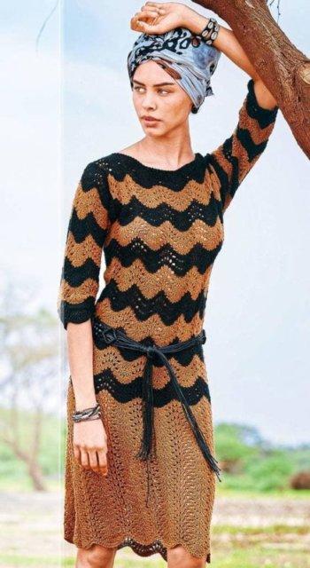 платье с волнистым узором, платье спицами, платье с волнистым узором спицами, платье с узором зигзаг, зигзагообразные узоры, узоры в стиле Missoni, как связать платье, как связать узор Missoni, вязание платья с волнистым узором, вязание на заказ, вязание спицами,в'язання спицями