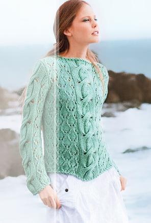 пуловер цвета мяты, пуловер летний, пуловер летний с косой, пуловер с аранами летний,пуловер мятный, пуловерженский, пуловер хлопковый, вязание спицами, как связать пуловерскосами, вязание на заказ, вязание для женщин, вязаные модели для женщин, модели вязаной одежды для женщин, вязание спицами, вяжите с нами, вяжем вместе, узоры, схемы вязания, описания вязаных изделий, кофта, кардиган, в'язання спицями