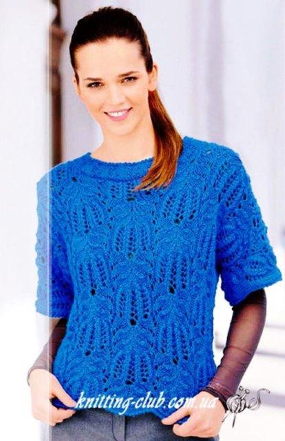 """джемпер ажурный синий, джемпер узором """"Медвежьи лапки"""", женский джемпер синий, джемпер ажурный, джемпер женский, вязание спицами, как связать джемпер с ажурным узором, вязание на заказ, вязание для женщин, вязаные модели для женщин, модели вязаной одежды для женщин, вязание спицами, вяжите с нами, вяжем вместе, узоры, схемы вязания, описания вязаных изделий, в'язання спицями"""