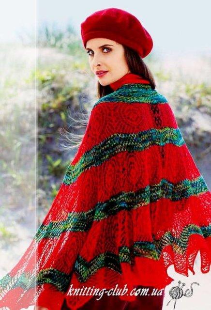 шаль красная с узором «павлиньи перья», шаль ажурная, женская шаль с ажурным узором «павлиньи перья», накидка на плечи, ажурная накидка на плечи, вязание спицами, шаль в технике интарсия, шаль с узором «листья» в технике интарсия, как связать шаль в технике интарсия, вязание на заказ, вязание для женщин, вязаные модели для женщин, модели вязаной одежды