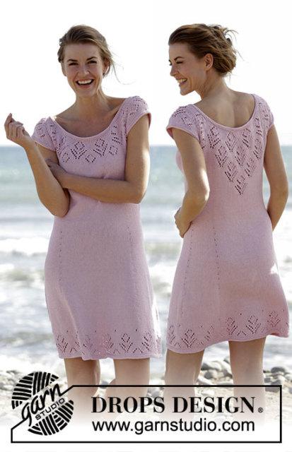 вязаное платье, платье розовое ажурное, платье ажурное, платье ручной работы, платье с ажурными листочками, платье пудрового цвета, платье с ажурным узором, розовоеплатье, летние модели, платье вязанное хлопковое, вязание для женщин, вязанное платье, вязание спицами, ажурные узоры, модели Drops,в'язання спицями
