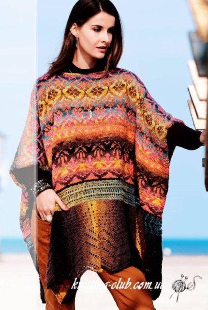пончо с жаккардовым узором и ажурным бордюром, пончо ажурное, женское пончо с ажурным бордюром, пончо многоцветный, пончо с жаккардовым узором, вязание спицами, как связать пончо, вязание на заказ, вязание для женщин, вязаные модели для женщин, модели вязаной одежды