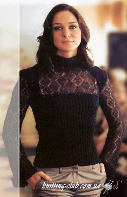 пуловер вечерний черный мохеровый, женский пуловер, пуловер ажурный черногоцвета, пуловер женский, вязание спицами, как связать пуловер с ажурными вставками, вязание на заказ, вязание для женщин, вязаные модели для женщин, модели вязаной одежды для женщин, вязание спицами, вяжите с нами, вяжем вместе, узоры, схемы вязания, описания вязаных изделий, в'язання спицями