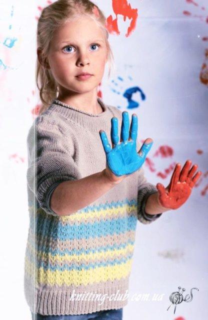 Детский пуловер с узором, детский пуловер с нежным узором со снятыми петлями, детский пуловер, пуловер детский, вязание спицами, детский пуловер с жаккардовым узором, как связать детский пуловер с узором, вязание на заказ, вязание для детей, вязаные модели для детей, модели вязаной одежды