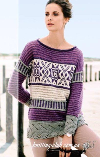 пуловер с норвежским узором, пуловер с норвежским узором и ажурным бордюром, женский пуловер с норвежским узором, пуловер ажурный, пуловер женский, вязание спицами, пуловер с жаккардовым узором, как связать пуловер с норвежским узором, вязание на заказ, вязание для женщин, вязаные модели для женщин, модели вязаной одежды