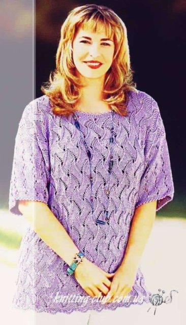 вязание для полных, вязание для роскошных дам, вязание для солидных дам, джемпер ажурный нежно - сиреневый, женский джемпер сиреневый, джемпер ажурный, джемпер женский, вязание спицами, как связать джемпер с ажурным узором, вязание на заказ, вязание для женщин, вязаные модели для женщин, модели вязаной одежды