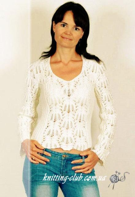 """джемпер ажурный белый с узором """"Медвежьи лапки"""", белый летний джемпер узором """"Медвежьи лапки"""", джемпер белый, джемпер белыйажурный, джемпер ажурный с длиннымрукавом, джемпер летний, джемпер женский, джемпер хлопковый, джемпер шелковый, вязание для женщин, модели вязаной одежды для женщин, вязание спицами, ажурные узоры, ажурные полосы, в'язання спицями, джемпер вязаный, джемпер ручной работы, как связать ажурный джемпер, узоры из азиатских журналов, узор """"Медвежьи лапки"""""""